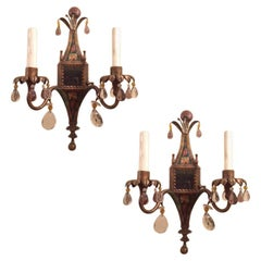 Pair of English Painted Tole Sconces with Crystals