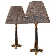 Pair of English Patinated and Gilt Bronze Lamps, circa 1850