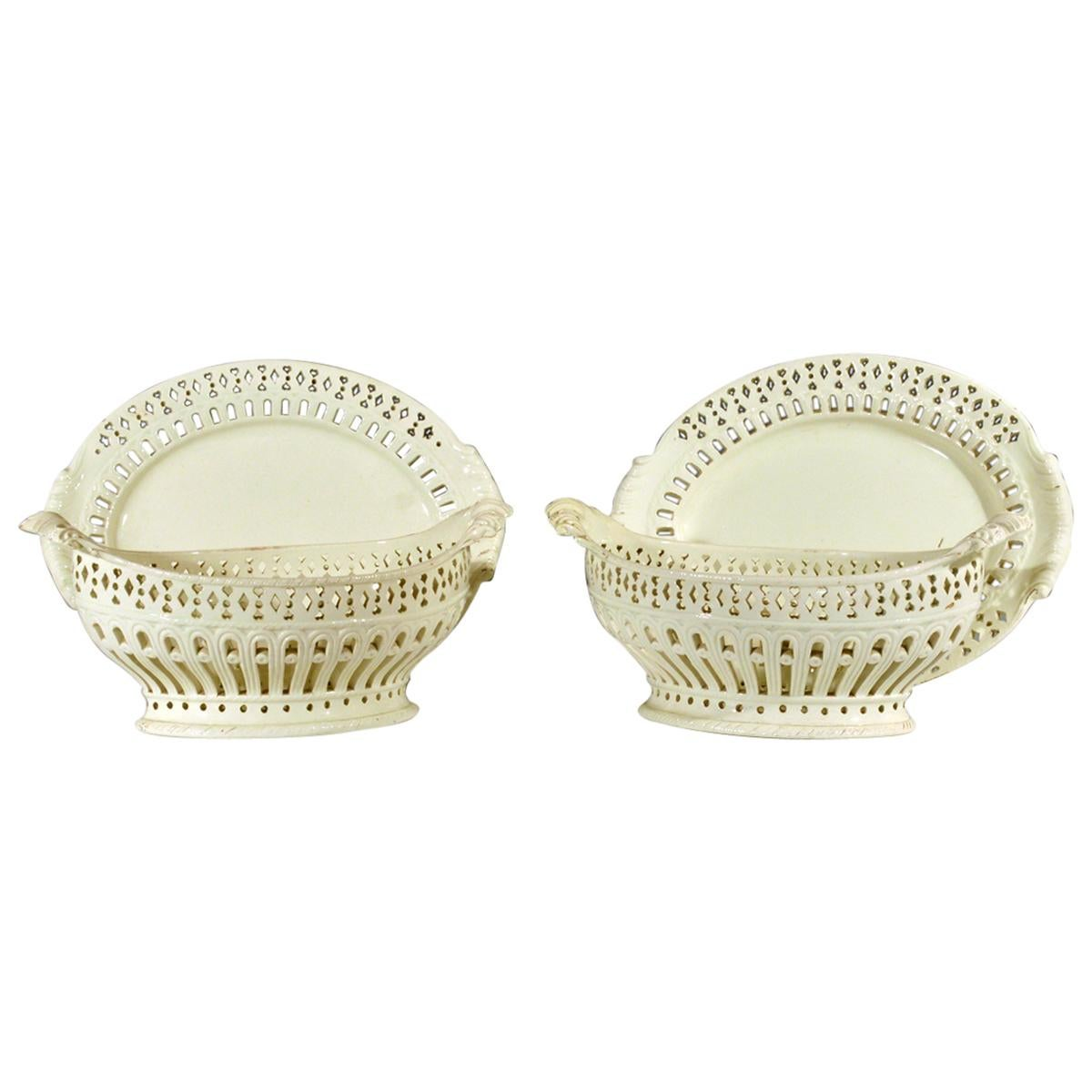 Pair of English Plain Creamware Openwork Baskets and Stands, circa 1780s-1990s