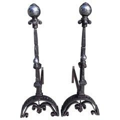 Pair of English Polished Steel and Wrought Iron Hand Chased Andirons, Circa 1760