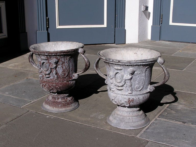 Cast Pair of English Lead Poly Chromed Garden Urns with Flanking Handles, Circa 1820 For Sale