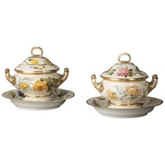 Pair of English Porcelain Botanical Sauce Tureens on Stands, Derby, circa 1820