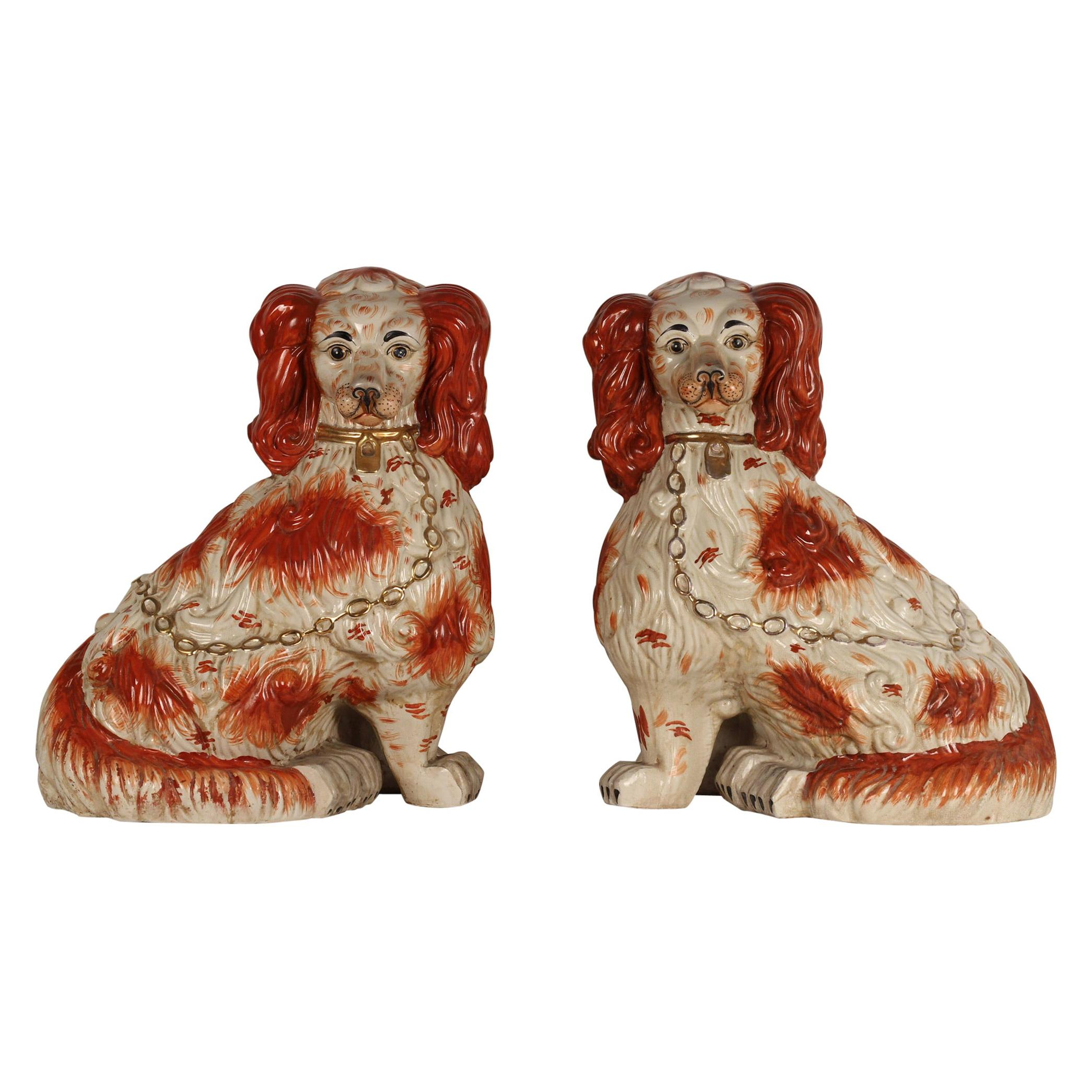 A Pair of Large English Porcelain Cavalier King Charles Spaniels Staffordshire