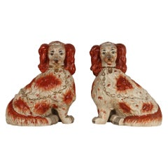 A Pair of English Porcelain Cavalier King Charles Spaniels Staffordshire