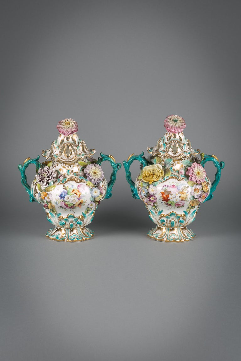 Pair of English porcelain covered two-handled vases, Coalbrookdale, circa 1835.