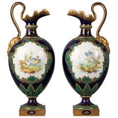 Pair of English Porcelain Ewers, Royal Crown Derby, circa 1900