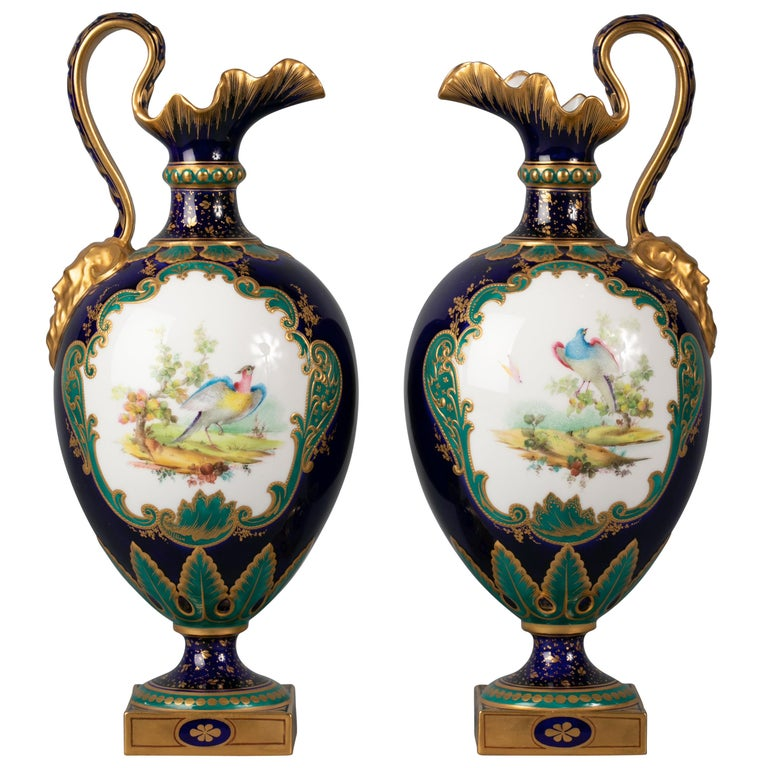 Pair of English Porcelain Ewers, Royal Crown Derby, circa 1900 For Sale