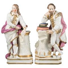 Paar von englischen Porzellanfiguren von Shakespeare und Milton, Derby, um 1820