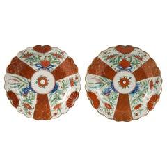 Pair of English Porcelain Japan Pattern Plates, Worcester, Circa 1770