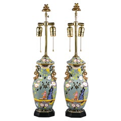 "Pair of English Porcelain ""Mason's Stoneware"" Lamps, circa 1820"