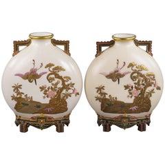 Paar Moon Flask Vasen Englisches Porzellan, Royal Worcester, circa 1880