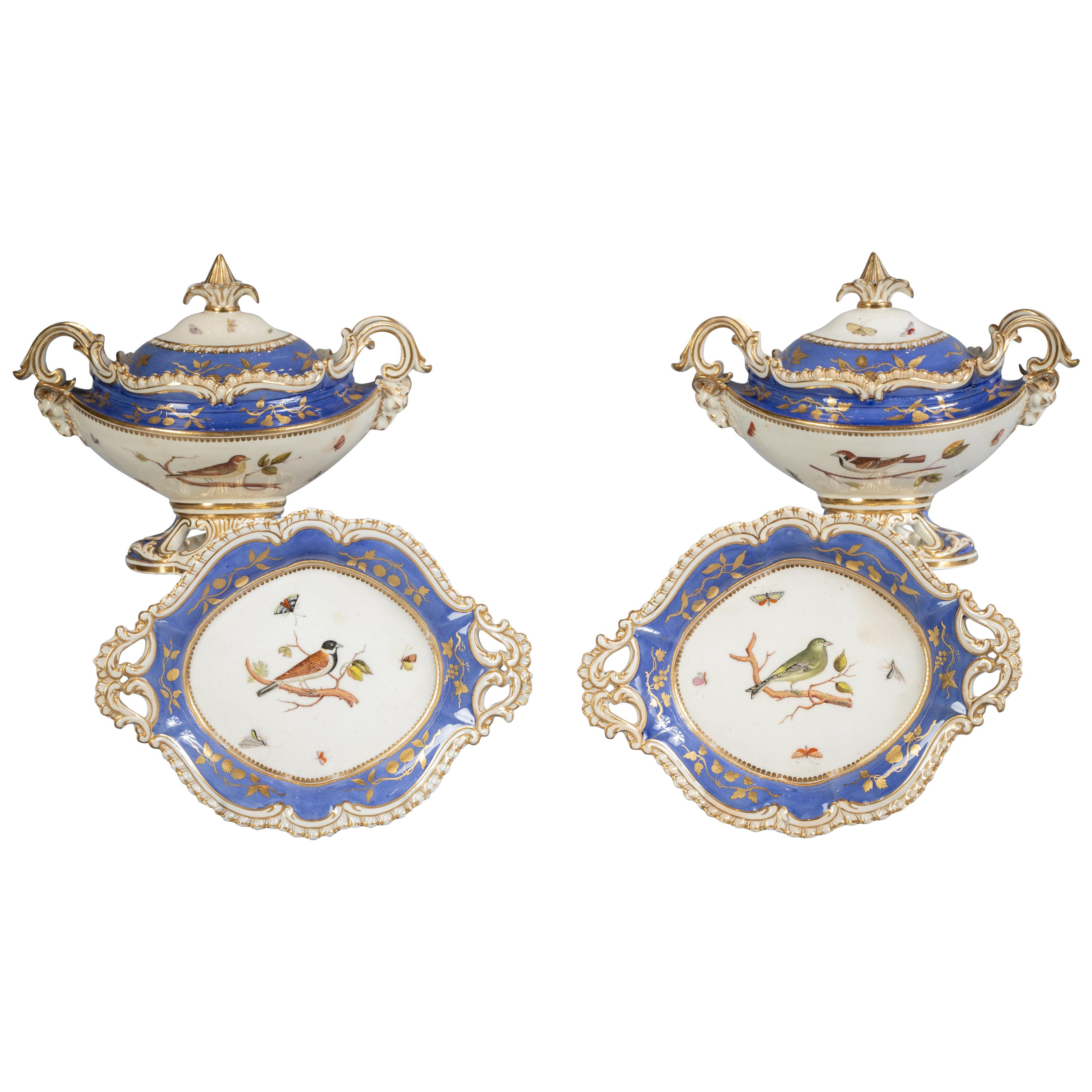 Pair of English Porcelain Ornithological Sauce Tureens on Stands, circa 1820