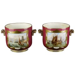 Pair of English Porcelain Planters Maritime and Landscape Paintings, circa 1850