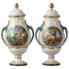 Pair of English Porcelain Two Handled Covered Vases, Derby, circa 1770