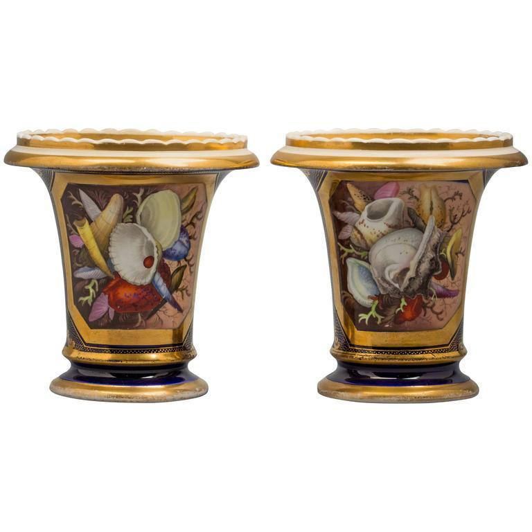 19th Century Pair of English Porcelain Vases, Coalport, circa 1820 For Sale