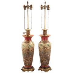 Pair of English Porcelain Vases Mounted as Lamps, Doulton Lambeth, circa 1890