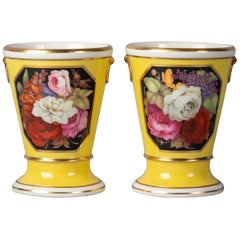 Pair of English Porcelain Yellow-Ground Vases, Worcester, circa 1800