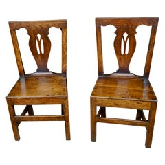 Pair of English Provincial Mid-Georgian Period Oak Side Chairs
