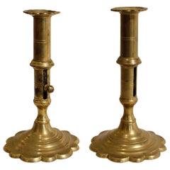 Pair of English Queen Anne Brass Candlesticks