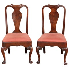 Pair of English Queen Anne Cabriole Leg Side Chairs, circa 1710