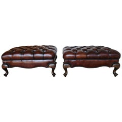 Pair of English Queen Anne Style Leather Tufted Benches