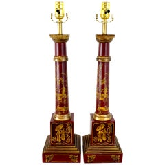 Pair of English Red Tole Gilt Chinoiserie Column Lamps