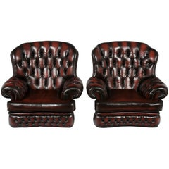 Pair of English Red Tufted Leather Club Armchairs Wingback