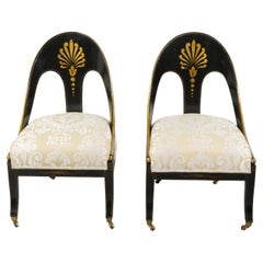 Pair of English Regency 19th Century Black and Gold Lacquer Spoon Back Chairs