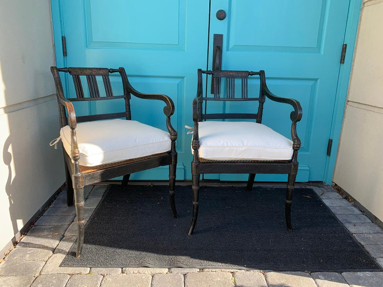 Pair of English Regency Armchairs, circa 1815-1830 For Sale 4