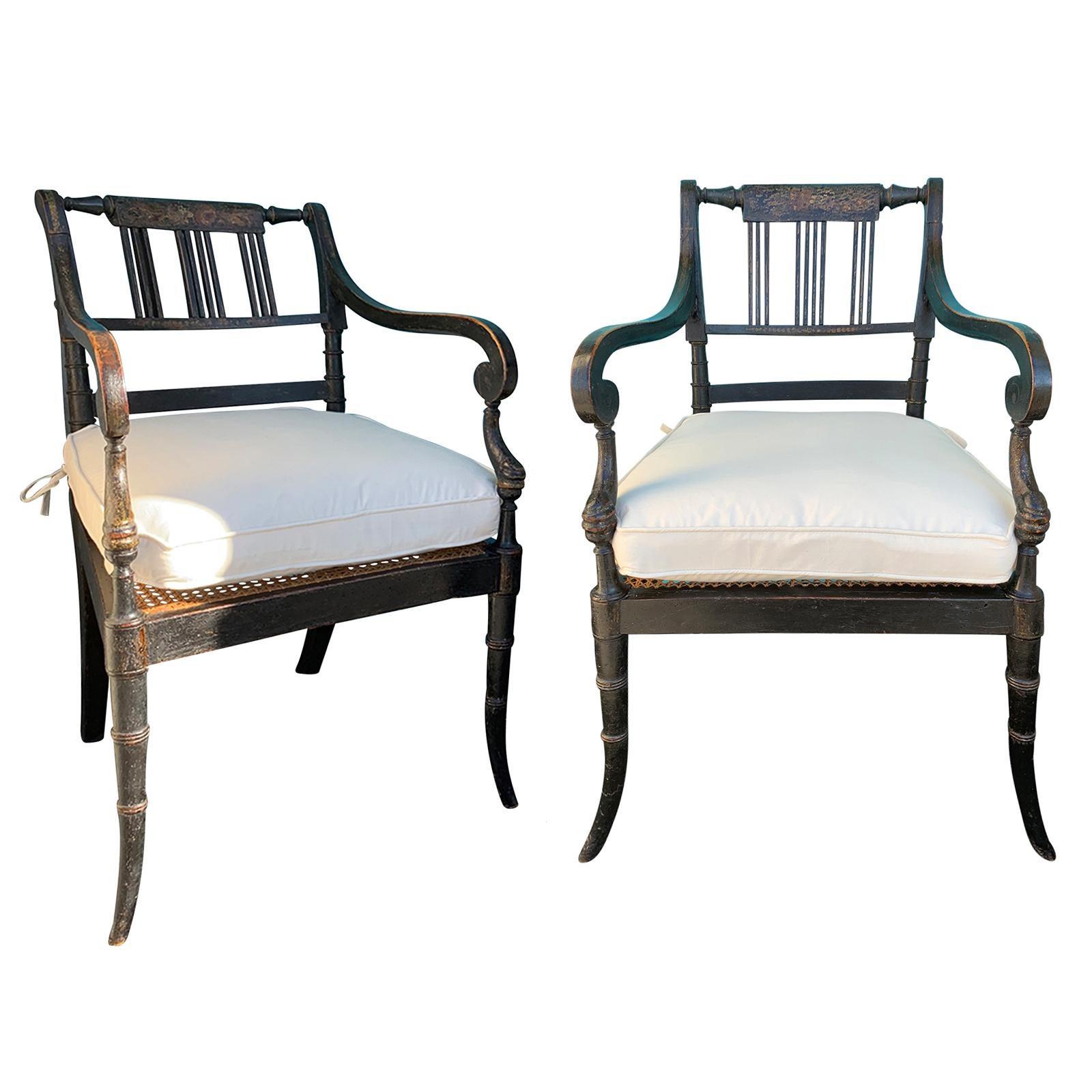 Pair of English Regency Armchairs, circa 1815-1830