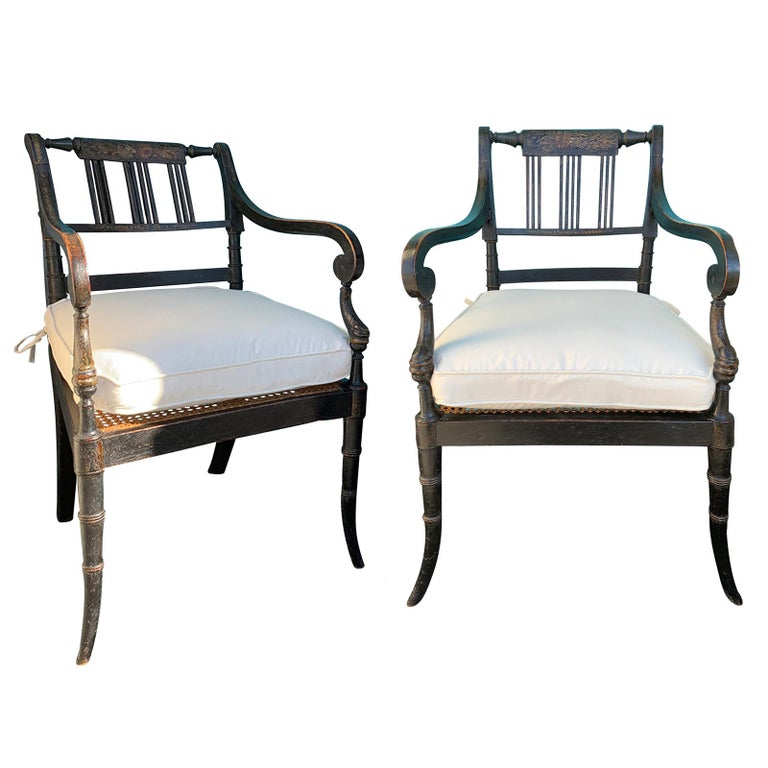 Pair of English Regency Armchairs, circa 1815-1830 For Sale