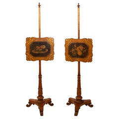 Pair of English Regency Birdseye Maple Pole Screens