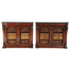 Pair of English Regency Brown Mahogany Side Cabinets
