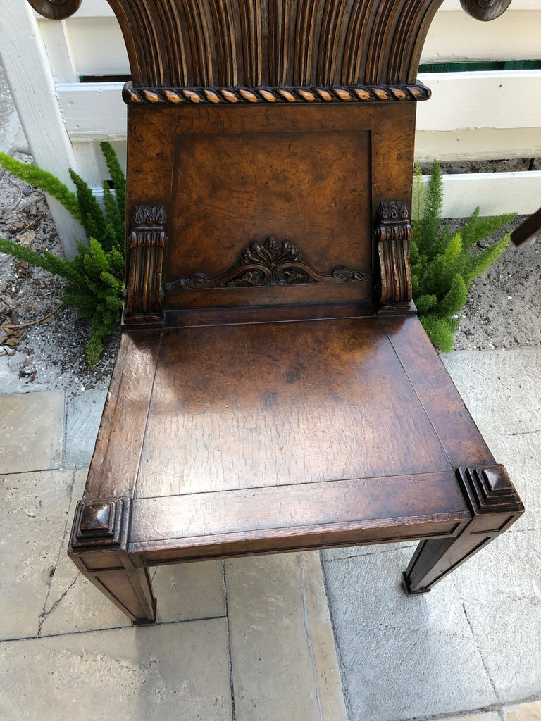 Hand-Crafted Pair of English Regency Burl Elmwood Hall Chairs/Side Chairs For Sale