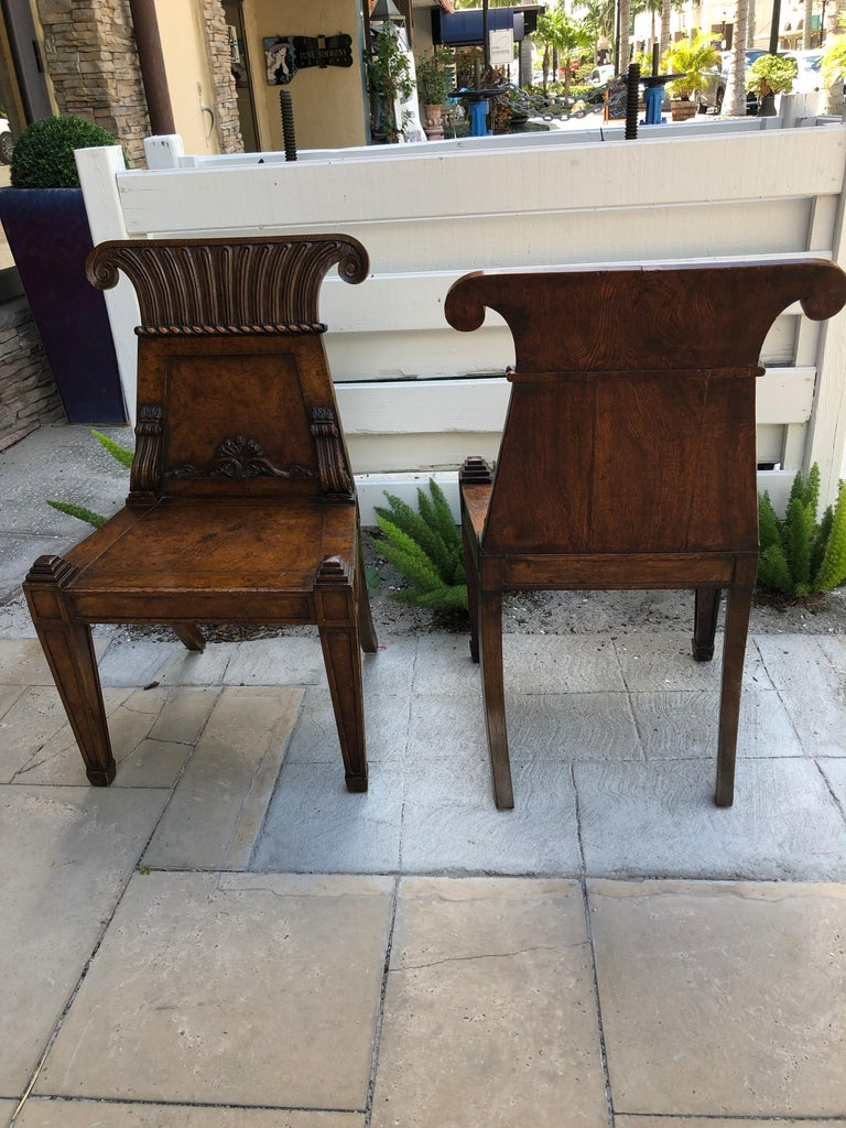 Pair of English Regency Burl Elmwood Hall Chairs/Side Chairs In Good Condition For Sale In Sarasota, FL