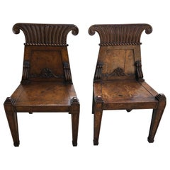 Pair of English Regency Burl Elmwood Hall Chairs/Side Chairs