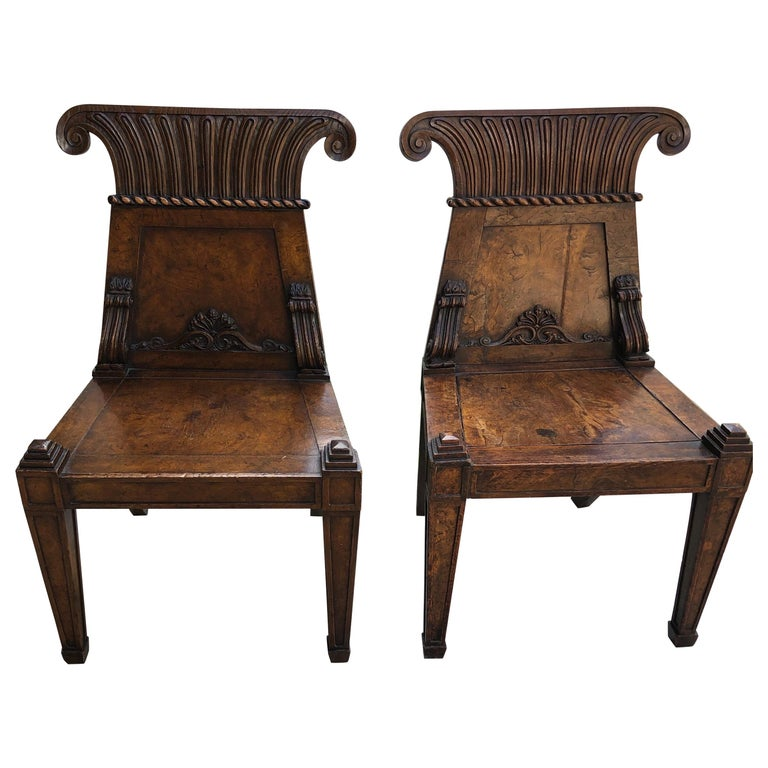 Pair of English Regency Burl Elmwood Hall Chairs/Side Chairs For Sale
