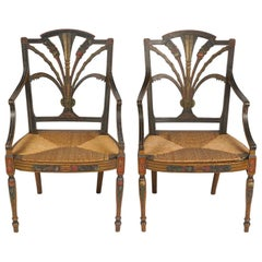 Pair of English Regency Carved and Paint Decorated Rush Seat Armchairs