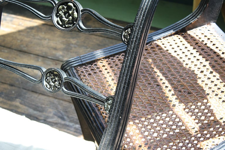 Pair of English Regency Ebonised Caned Klismos Side Chairs with Original Squabs For Sale 6