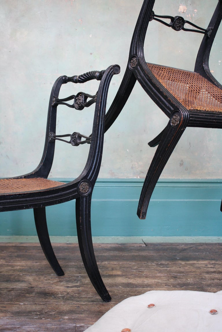 Pair of English Regency Ebonised Caned Klismos Side Chairs with Original Squabs For Sale 10