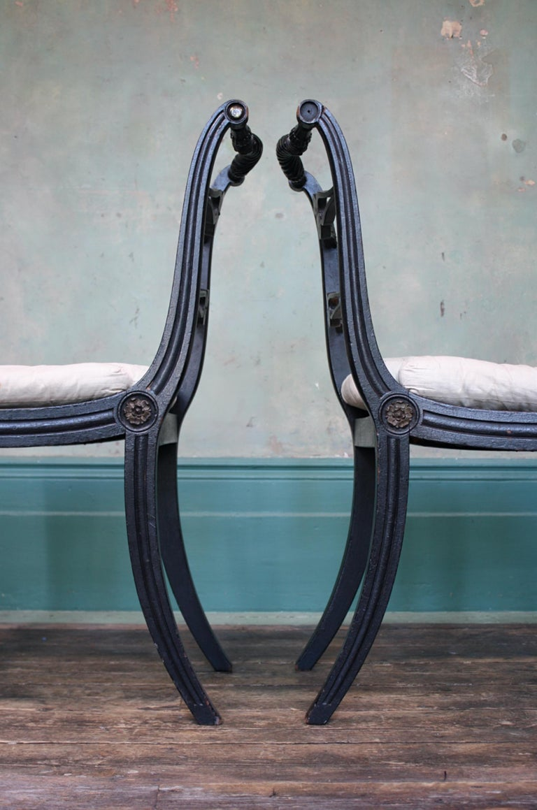 Pair of English Regency Ebonised Caned Klismos Side Chairs with Original Squabs For Sale 12