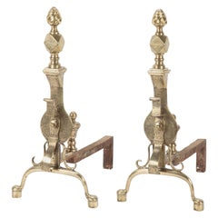 Pair of English Regency Etched Brass Andirons