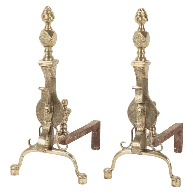 Pair of English Regency Etched Brass Andirons For Sale