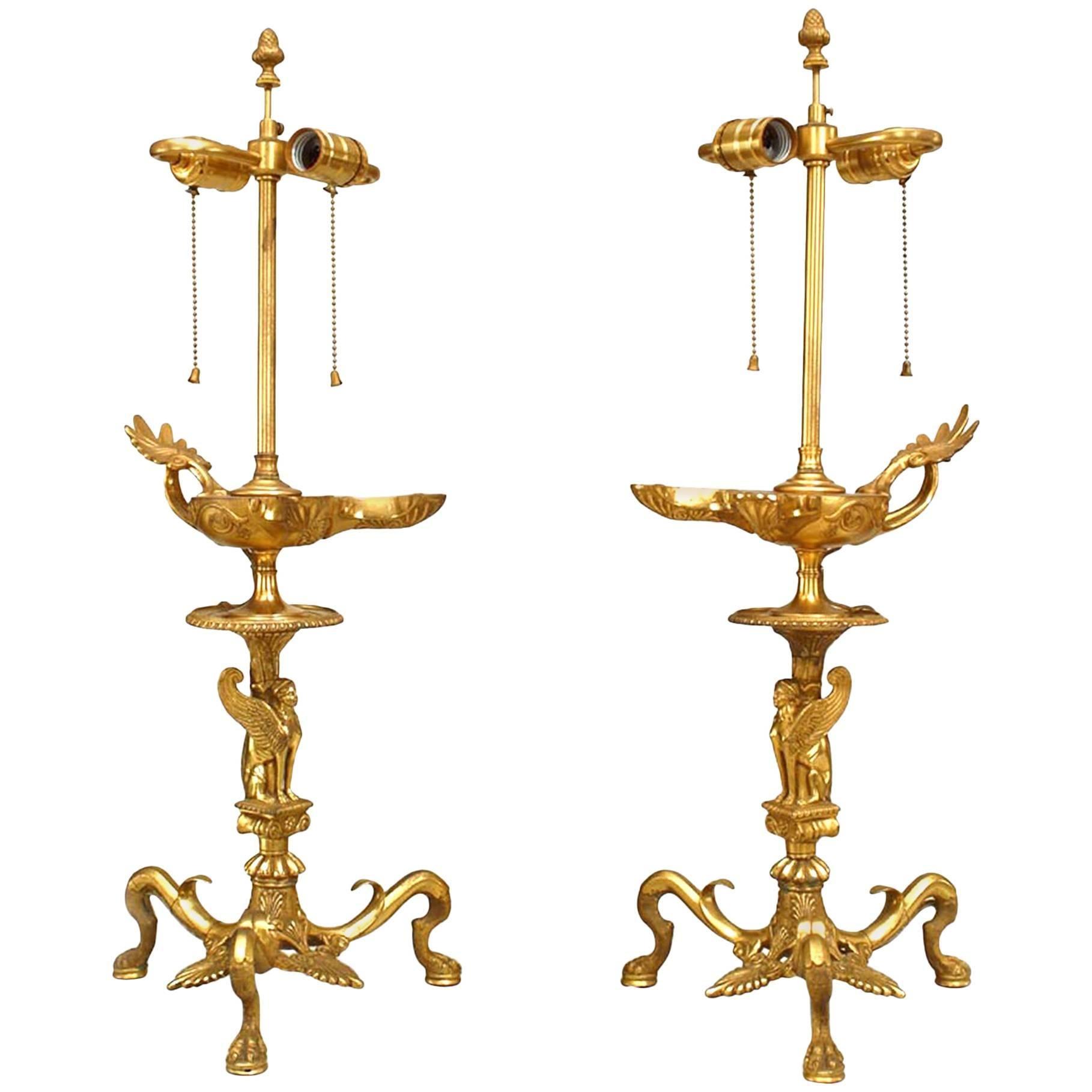 Pair of English Regency Gilt Bronze Sphinx Table Lamps