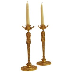 Pair of English Regency Gilt Bronze Candlesticks