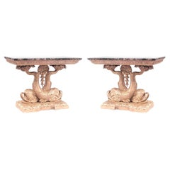 Pair of English Regency Gilt Wood & Marble Console Tables