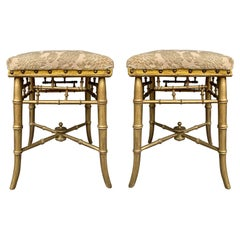 Pair of English Regency Giltwood Faux Bamboo Stools, circa 1825