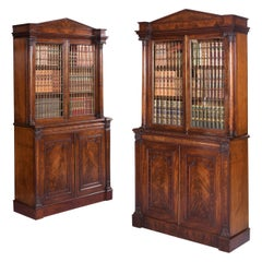 Pair of English Regency Mahogany Architectural Bookcases by Gillows of Lancaster