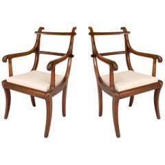 Pair of English Regency Mahogany Ladder Back Armchairs