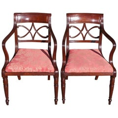 Pair of English Regency Mahogany Reeded and Upholstered Armchairs, Circa 1815